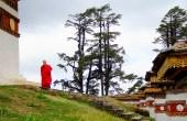 Looks like the monk is about to start circumambulation and prayers at the Dochula Pass; Photo: Kaushik Naik
