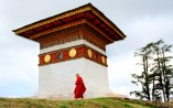 It's a very soothing sight to wach the monk praying and circumambulating at the Dochula Pass; Photo: Kaushik Naik