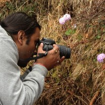 Ameen engrossed in capturing the flora on the way to Shaali Tibba (Peak)