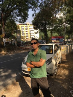 Mountain Walker Chief Executive Abhishek Kaushal takes a break near Dehradun, on his way to Mussoorie (15th May 2016)