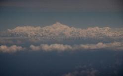 View of the snow-capped Himalayas from the aircraft just before landing at Paro; Photo: Kaushik Naik