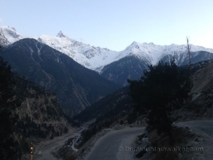 First clear sight of the Kinner Kailash range as dusk closes in: view from the road to Reckong Peo; Photo: sanjay mukherjee