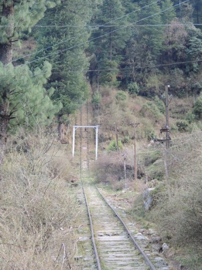 Amazed at the view of the steep incline of the Barot - Jogindernagar funicular rail track; Photo: Abhishek Kaushal