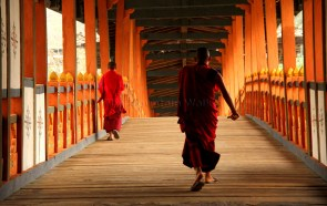 Hurrying across the bridge from Punakha Dzong to the road on the other side; Photo: Kaushik Naik