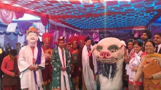 The Singay Cham (Lion Dance) performers from Rarang village; Photo: Abhinav Kaushal
