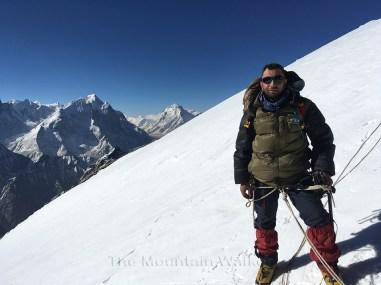 Abhishek Kaushal below the cornice at the summit of Mount Thelu; Photo: Guneet Puri