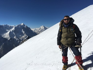 """Climbing A Mountain and Building a Company are Both Hard Team Work"":The Mountain Walker CEO Abhishek Kaushal below the cornice at the summit of Mount Thelu; Photo: Guneet Puri"