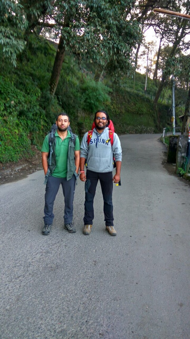 This is a 2016 photograph of The Mountain Walker COO, Ameen Shaikh, with his childhood friend and co-Founder, Abhishek Kaushal.