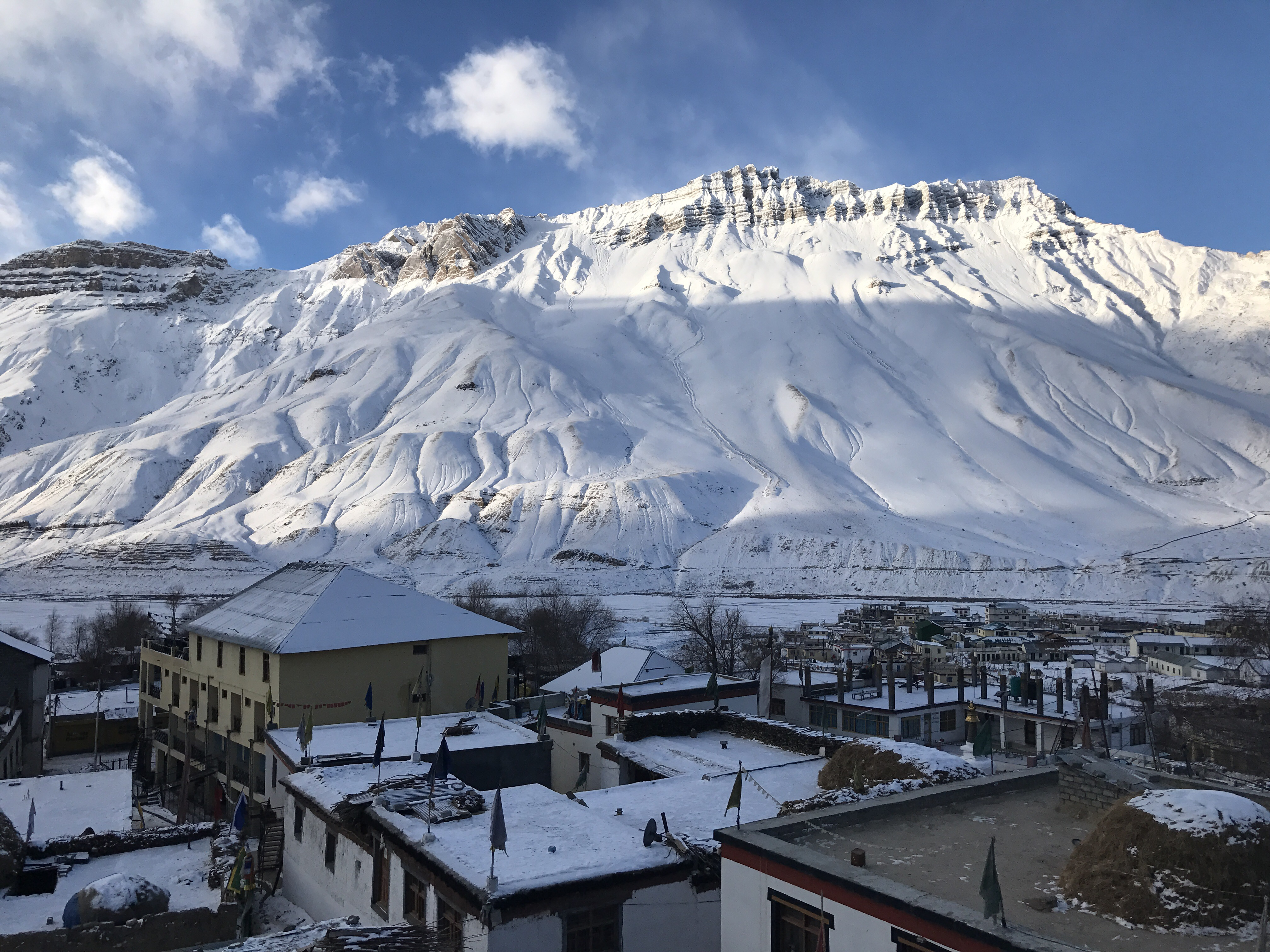 Morning View of town, Kaza Lahaul and Spiti, Himachal Pradesh, India.
