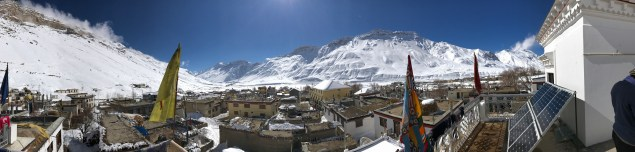 Panoramic view of Kaza from the roof at Sakya Home Stay
