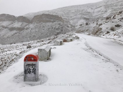 The Lingti-Lalung road as the snow continues to fall.