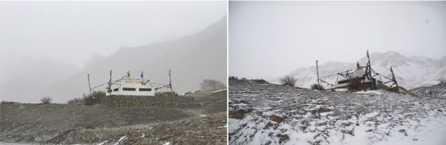 Before and after the snowfall the same day.