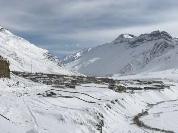 Kaza town amidst the snow; Photo: Abhinav Kaushal