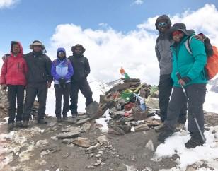 The Mountain Walker team atop Pin Parvati Pass