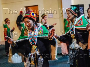 The traditionally attired members of Mahila Mandal Chicham performing their local dance during the Spiti Festival 2017.