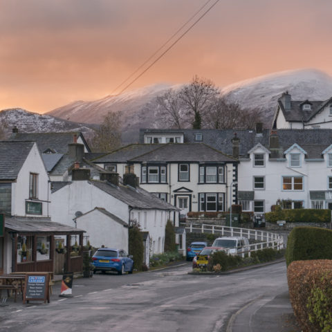 Fiery sunset over a snowy Skiddaw