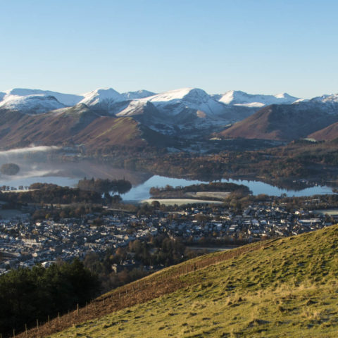 Snowy panorama of the Keswick fells and Derwent Water