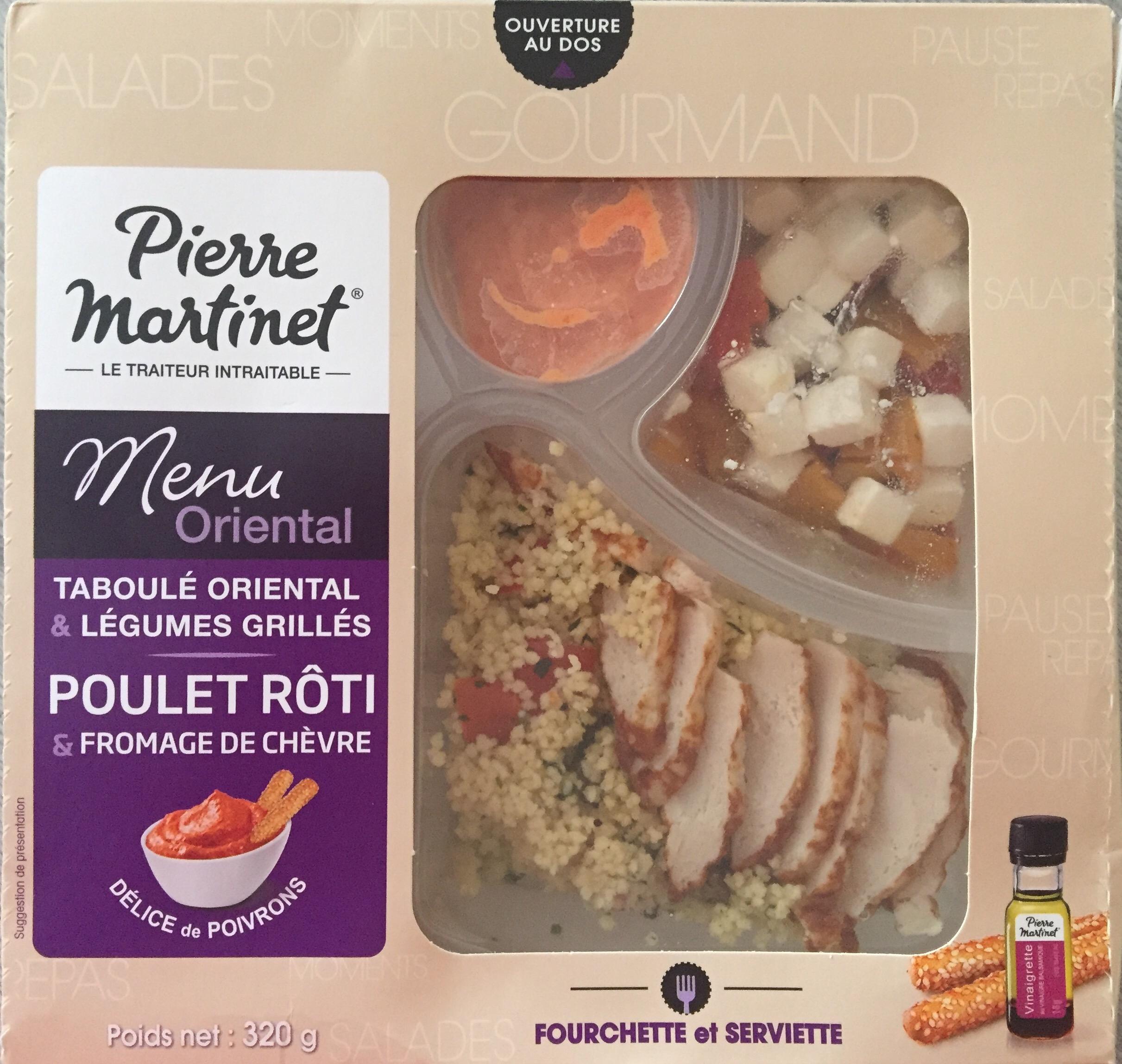 Les tests de TheMouse: le menu oriental Pierre Martinet: taboulé oriental, légumes grillés, poulet rôti, fromage de chèvre et délice de poivrons