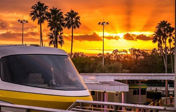 Monorail at WDW at Sunset