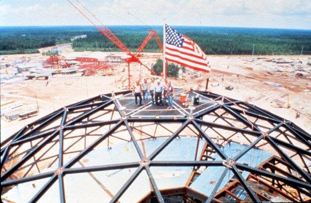 Construction of Spaceship Earth at Epcot Center
