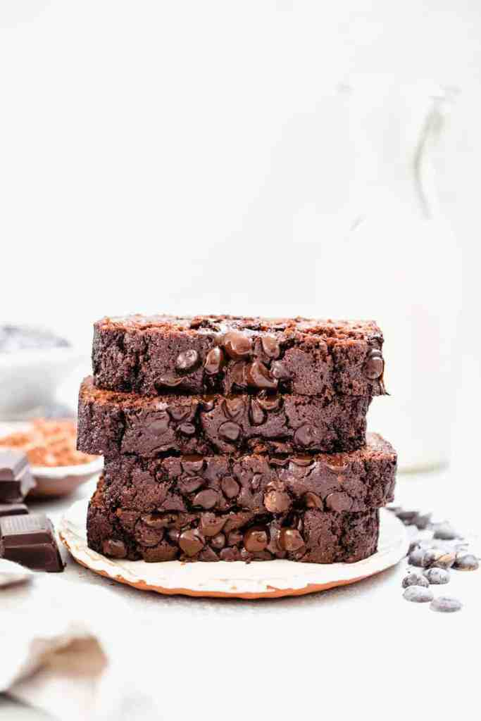 stack of double chocolate zucchini bread slices