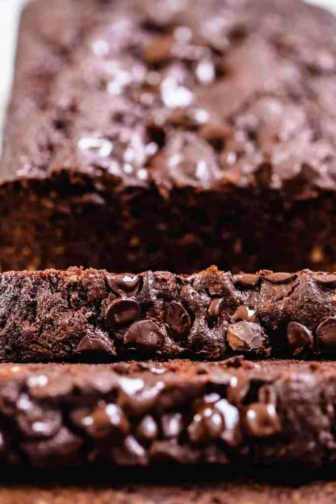 close up of slices of double chocolate zucchini bread