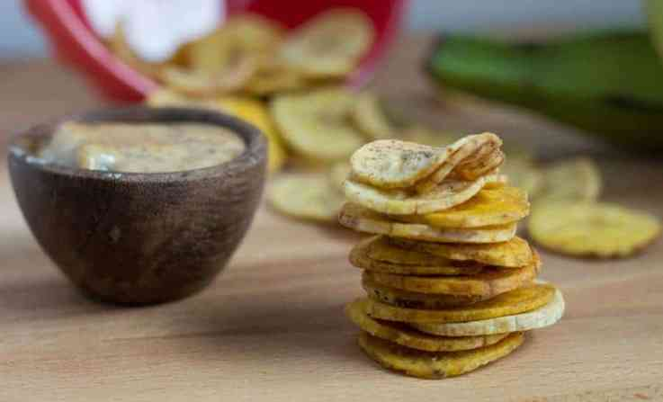 The Movement Menu - Baked Plantain Chips with Maple Bacon Aioli