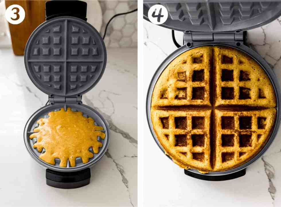 waffle batter being poured into a waffle iron