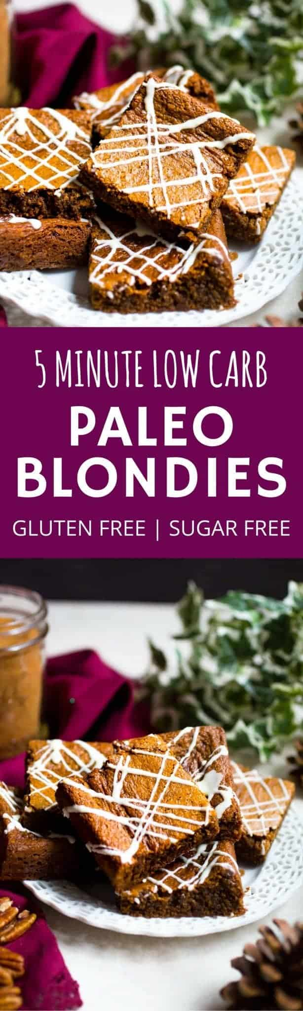 Easy 5 Minute Paleo Pecan Blondie Recipe. Paleo blondies recipes that is healthy and quick to make. Pecan flour blondies. Easy Blondie bars recipe. Low carb, gluten free, dairy free, healthy and sugar free blondies.