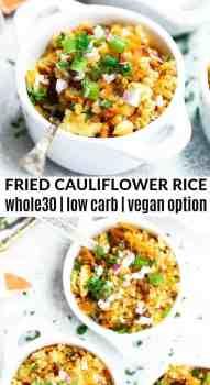 fried cauliflower rice in a white bowl