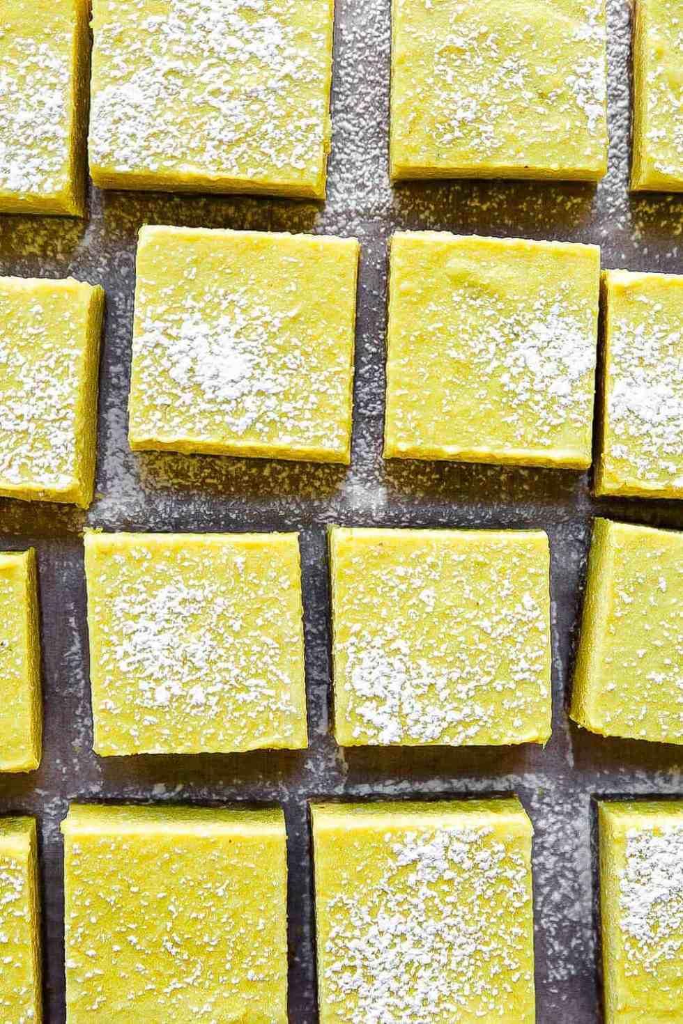 overhead shot of several paleo lemon bars