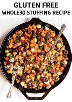 This gluten free stuffing recipe is loaded up with vegetables like butternut squash, celery and brussels sprouts and tossed with dried cranberries and toasted pecans. Tangy, a little bit sweet, paleo, whole30 compliant and can be made vegan, too! #paleo #glutenfree #stuffing #thanksgiving #glutenfreethanksgiving