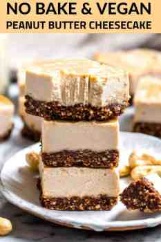 peanut butter cheesecake bars stacked on a plate