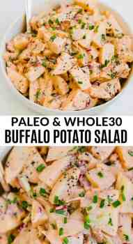 potato salad in a large bowl with a spoon inside