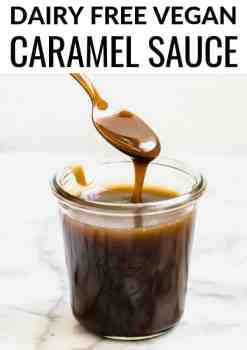 The best, easy vegan caramel sauce recipe is here- made with creamy coconut cream, pure maple syrup and other natural, real food ingredients. It's dairy free, refined sugar free and absolutely delicious! #vegan #caramel #vegancaramel #glutenfree #dairyfree