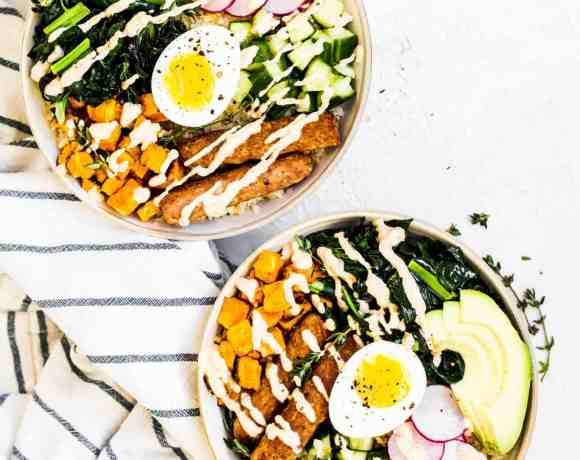 Easy to make and prep ahead Whole30 buddha bowls loaded up with all kinds of protein, veggies and fiber. The perfect Whole30 breakfast, lunch or easy dinner. #whole30recipes #buddhabowl #whole30