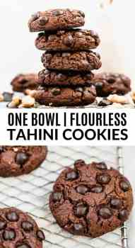 chocolate tahini cookies in a stack