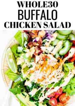 This paleo and whole30 buffalo chicken salad is packed with so much flavor and is perfect for a quick whole30 lunch. The homemade buffalo mayo dressing is to die for... the whole family will love it! The Movement Menu || #paleosalad #whole30salad via @themovementmenu