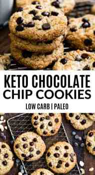 A one bowl, easy to make recipe for keto chocolate chip cookies that is perfectly chewy, soft and delicious. These keto cookies are made with raw cashews and are sugar free, low carb and paleo! #keto #ketocookies #chocolatechipcookies #paleo #lowcarb