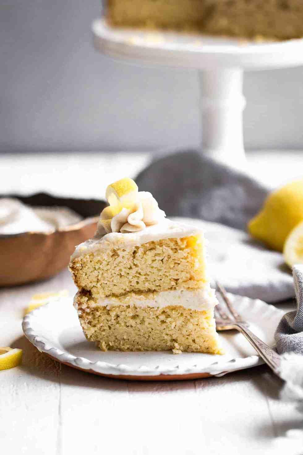 sugar free lemon cake slice on a white plate
