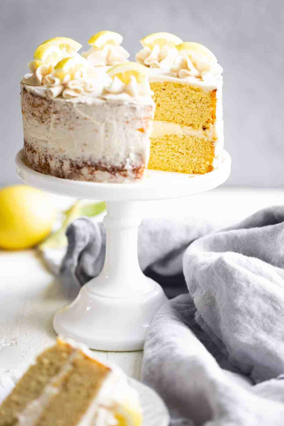 sugar free lemon cake on a cake stand