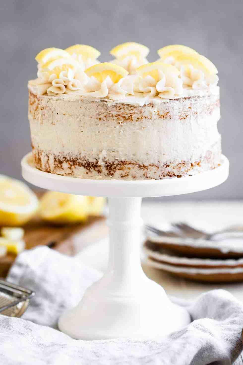 sugar free lemon cake on a white cake stand
