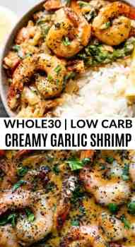 creamy garlic shrimp in a pan with rice