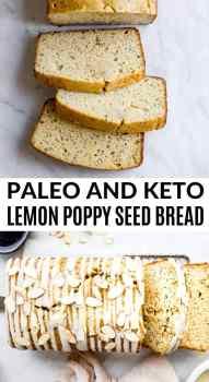 overhead of keto lemon poppy seed bread with coconut butter glaze