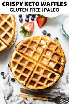 plain waffles on a plate with berries on the side