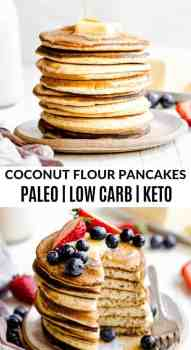 a stack of paleo pancakes on a white plate with berries
