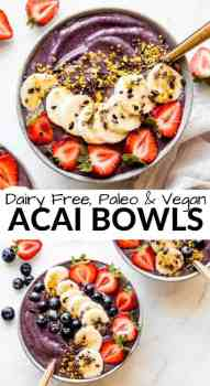 acai bowl with strawberries, blueberries and cacao nibs on top