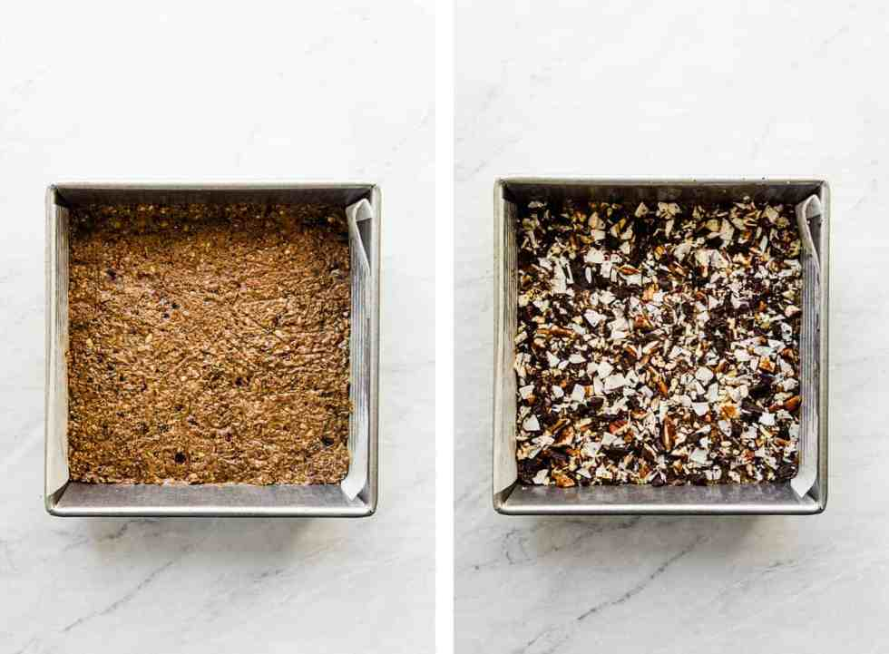 protein bar mixture in a baking dish with parchment paper
