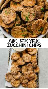 bowl of air fryer zucchini chips with parsley on top