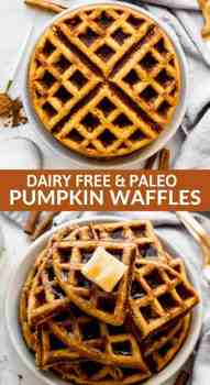pumpkin waffles stacked on a plate with butter on top